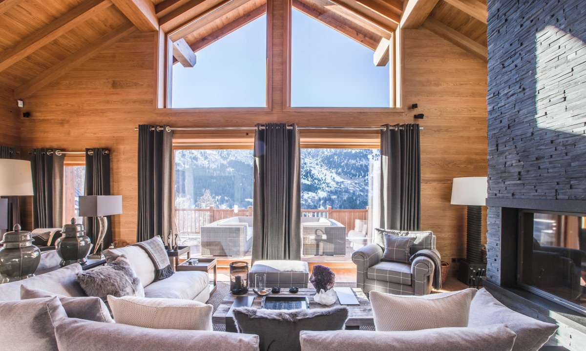 Chalet Le Grenier Living Room with Open Fire