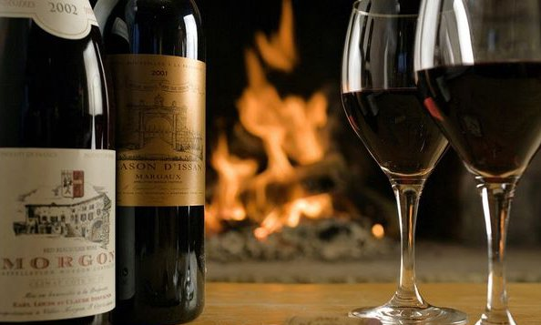 Delicious French Wine and a Roaring Fire