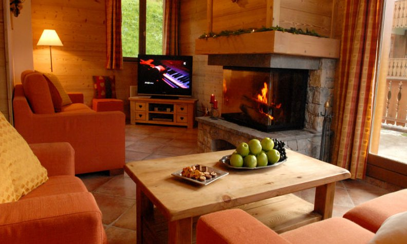Chalet L'Arclusaz Lounge with Roaring Fire