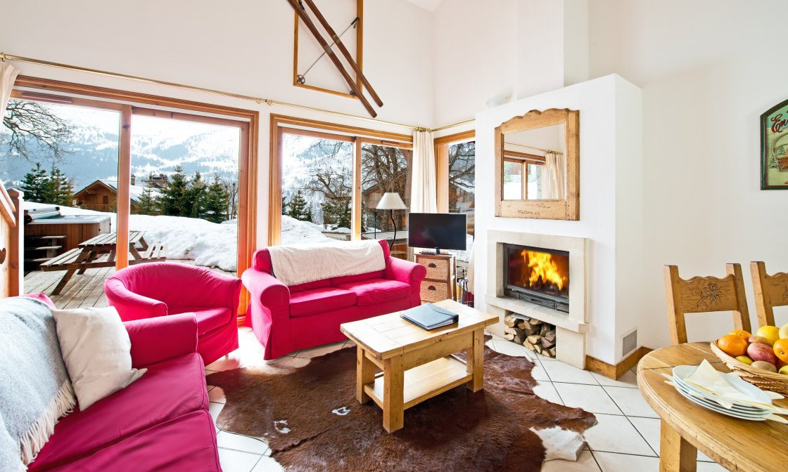 Chalet Braye Living Room with Fire
