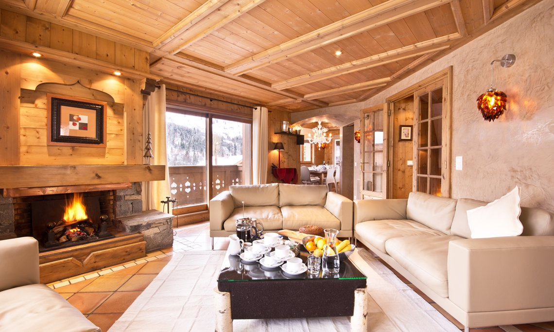 Luxury living area in Chalet Brioche Meribel