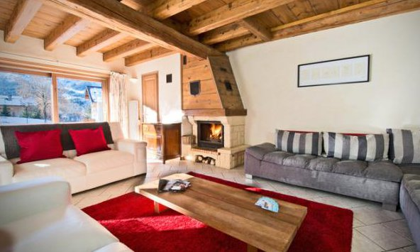 Chalet Edelweiss Lounge with Roaring Fire