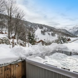 Chalet Cerf Rouge hot tub in the snow