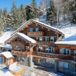 The exterior of Chalet Sylvie sleeping 23 people in Meribel