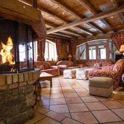 Fireplace and living area in Chalet Sylvie Meribel