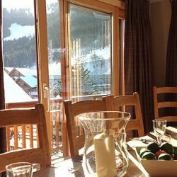 Chalet Montee dining area with lovely views