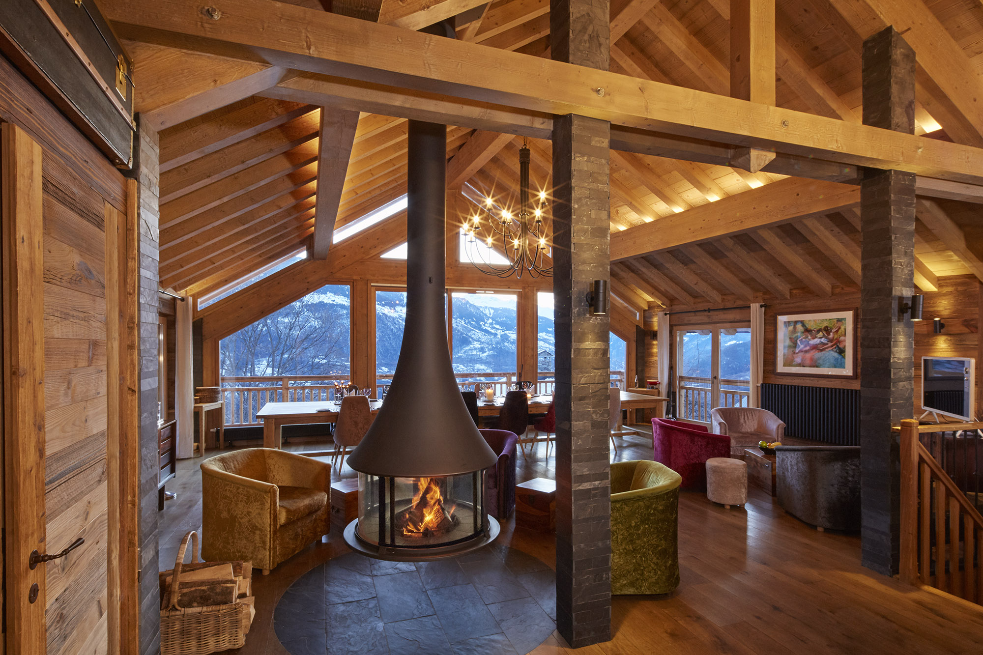 Chalet Iona Living Room with Open Fire