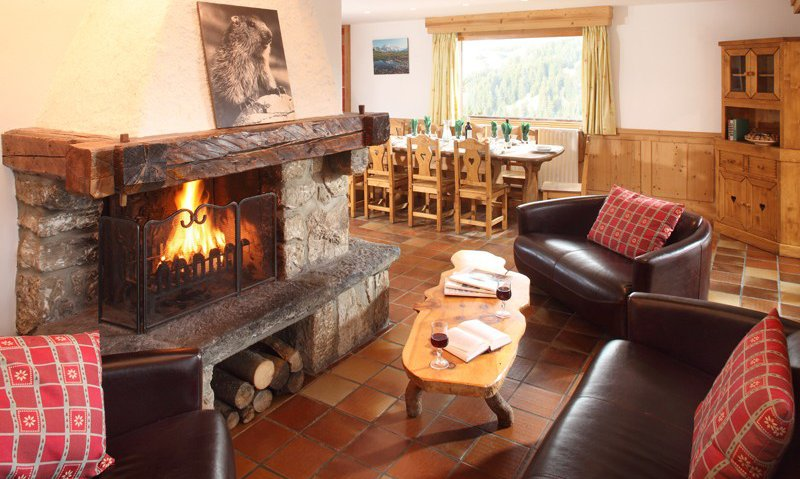 Chalet Lounge with Roaring Fire
