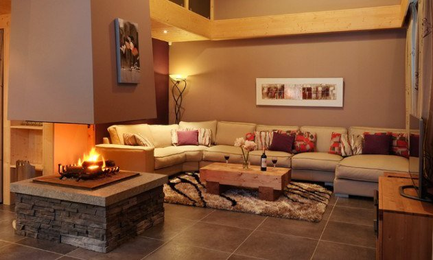 Chalet Bellacima Living Room with open fire
