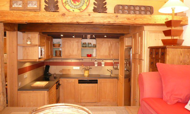 Open plan Kitchen in apartment Petaru Meribel