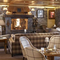 Hotel Le Grand Coeur Bar with Roaring Fire