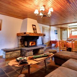 Chalet Andre Living Dining Room with Fire