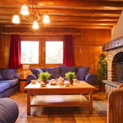Chalet Nathalie Living Room with Open Fire