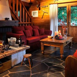 Chalet Petit Gibus Lounge with Roaring Fire