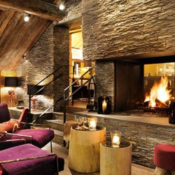 Le Savoy Lounge with Roaring Fire