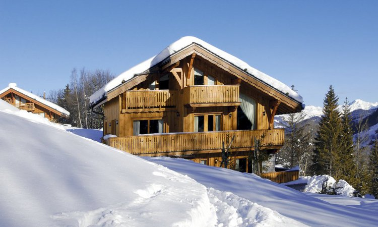 Catered ski chalet in the snow in Meribel