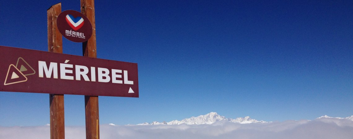 Meribel piste sign in the mountains