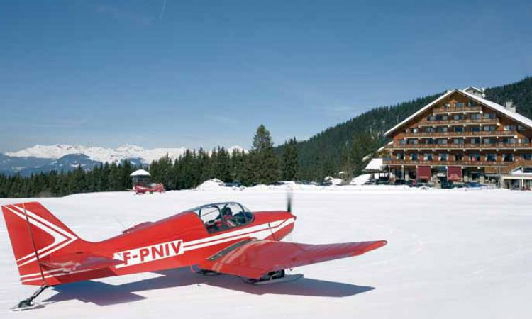 Plane at altiport meribel