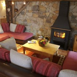 Chalet Daurel living room with fire