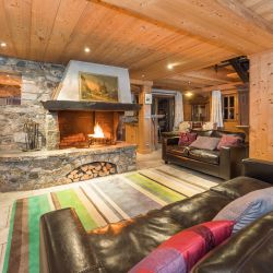 Chalet Chaudanne Living Room with Roaring Fire
